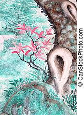 ピンク, パターン, 花, 緑, 背景