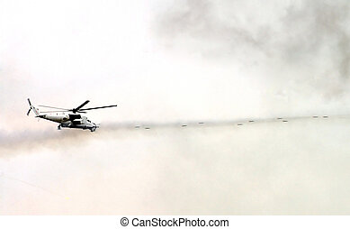 military  helicopter shoots