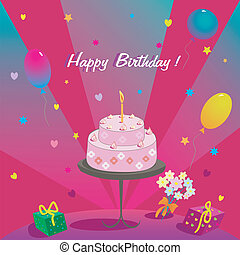 Happy Birthday. Gifts cake ballons and stars illustration...