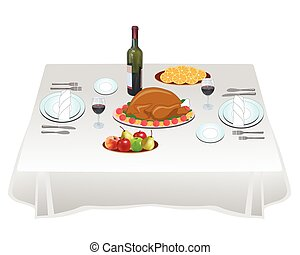 Dinner party - Table is laid for a dinner for two