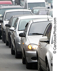 traffic jam vertical - Morning traffic jam on a road in Kiev...