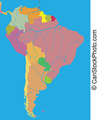 Political map of South America - Color political map of...