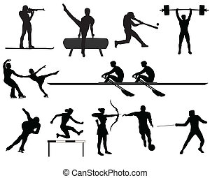 sports - Silhouettes of athletes on trainings and...