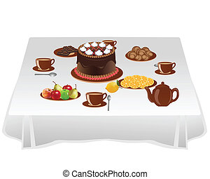 Table with sweets is laid to tea drinking