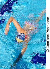 Woman swimming with head underwater - Sport woman training...