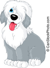 Old English Sheepdog - Cartoon dog sitting. English breed