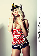 glamour girl with sailor cap - glamour attractive girl with...