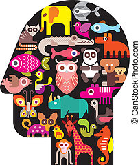 Human head with animal icons - abstract vector illustration...