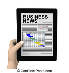 3d hand and business newspaper on tablet - 3d rendering of...