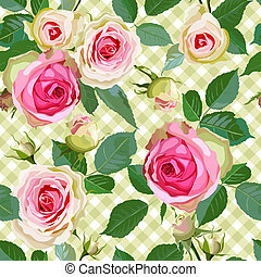 Checked Seamless Pattern with Roses - Luxurious color...
