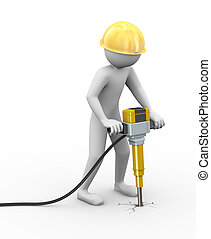 3d man with helmet and jackhammer working