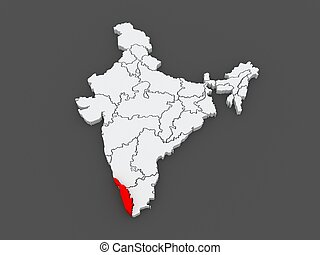 Map of Kerala. India. 3d