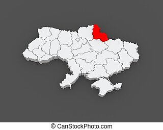 Map of Sumy region. Ukraine. 3d