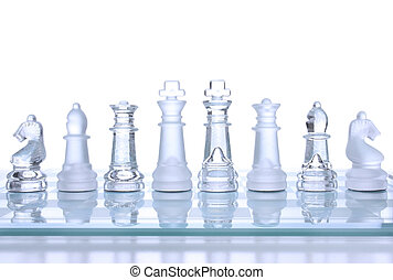 Chess - Translucent glass chess figures on a board