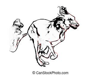 dog illustration - running dog vector illustration