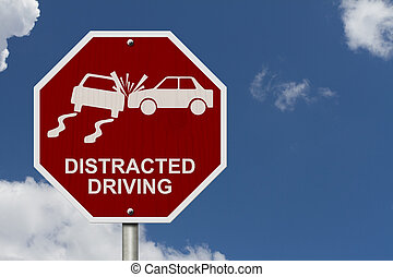 No Distracted Driving Sign, Red stop sign with words...