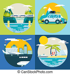 Retro Planning Summer Vacation, Tourism and Journey Symbol...