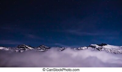 timelapse of mountain peaks - in timelapse snowy mountain...