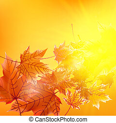 Delicate autumn sun with glare on gold sky EPS10
