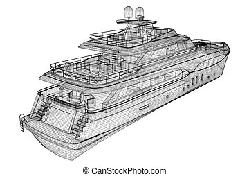 luxury motor yacht 3D model body structure, wire model