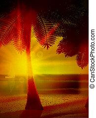 Sunset on the beach of sea.