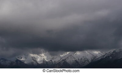mountainous landscape - mountain landscape with snow and...