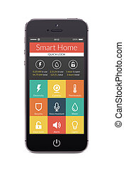 Front view of black smart phone with smart home application...