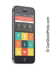 Black modern mobile smart phone with smart home application...