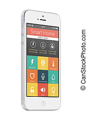 White modern mobile smart phone with smart home application...