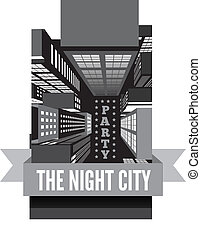 Night in the city. Top view