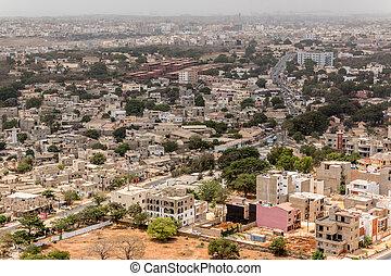 Aerial view of Dakar - Aerial view of the city of Dakar,...