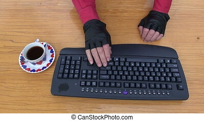 programmer hacker hand on keayboard - programmer hacker...