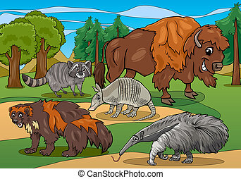 mammals animals cartoon illustration - Cartoon Illustrations...