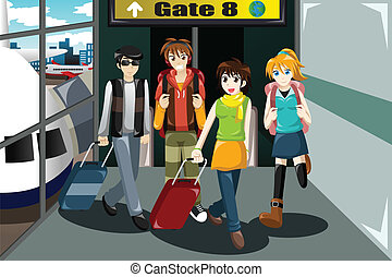 Group of young people  traveling together