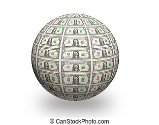 dollar 3d ball - 3D Sphere made of one dollar bills on white...