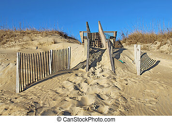 Sand-covered stairway to a beach in North Carolina; -...