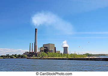 Power plant on Lake Michigan in Indiana - Coal- and...