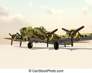 Flying Fortress - Computer generated 3D illustration with...