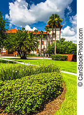 Building and bushes at Flagler College, St. Augustine, Florida.