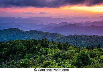 Sunset from Cowee Mountains Overlook, on the Blue Ridge...