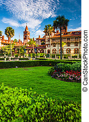 Gardens and Ponce de Leon Hall at Flagler College, St...