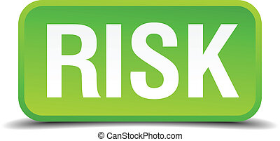 Risk green 3d realistic square isolated button