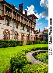 Building and bushes at Flagler College, St. Augustine,...