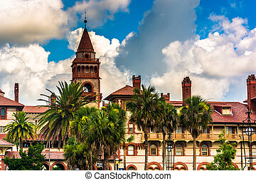 Palm trees and Ponce de Leon Hall at Flagler College, in St...
