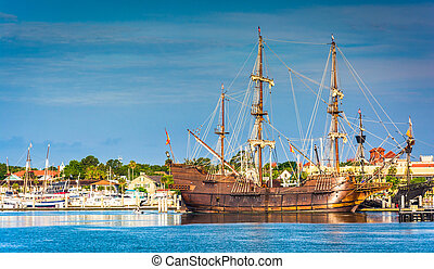 Ship in the harbor at St. Augustine, Florida. - Ship in the...