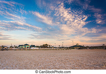 The beach at sunrise, in St. Augustine Beach, Florida. - The...