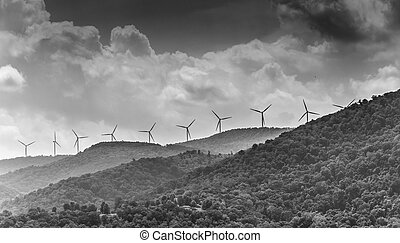 Windmills in the mountains near Keyser, West Virginia