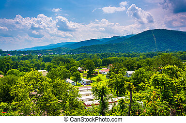 View of a trailer park and mountains near Keyser, West...