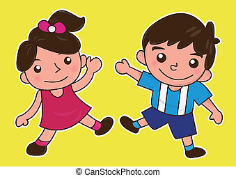 happy friends or children or girl and boy cartoon