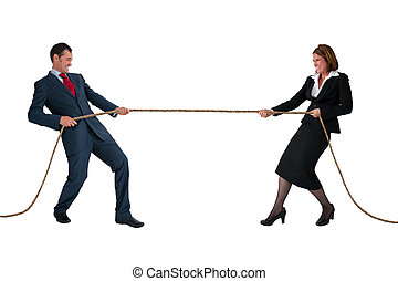 businessman and woman tug of war isolated on white -...